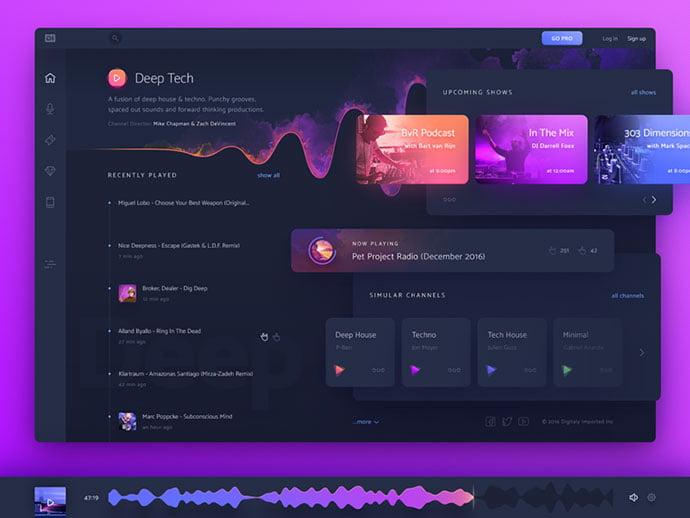 DI.FM_ - 63+ BEST Free PodCast Web & Mobile App UI Design IDEA [year]