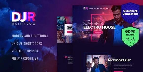 DJ-Rainflow - 36+ Amazing WordPress Radio Station Themes [year]