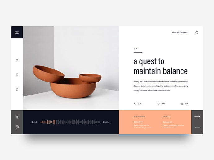 Design-Podcast-Concept - 63+ BEST Free PodCast Web & Mobile App UI Design IDEA [year]