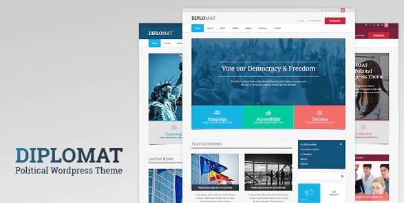 Diplomat - 35+ Awesome WordPress Government Themes [year]