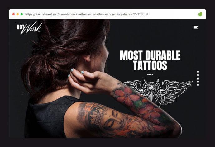 Dotwork - 28+ Amazing Tattoo Artist WordPress Themes [year]