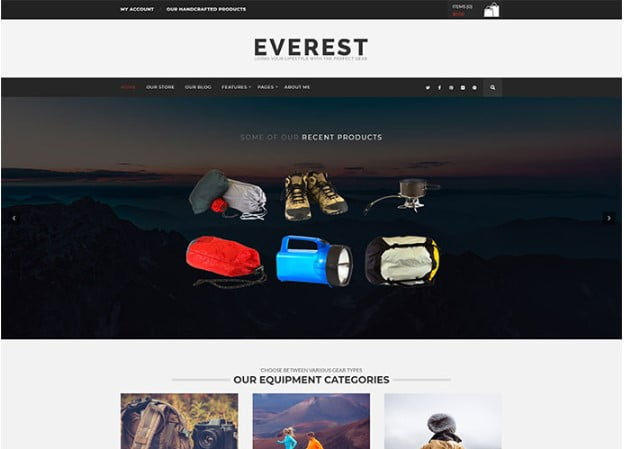Everest - 33+ Lovely Outdoor Gear WordPress Themes [year]