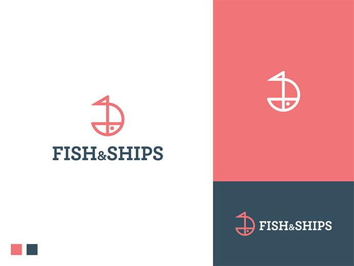 Fish-And-Ships - 43+ Top BEST Free Animal Logo Designs Example [year]