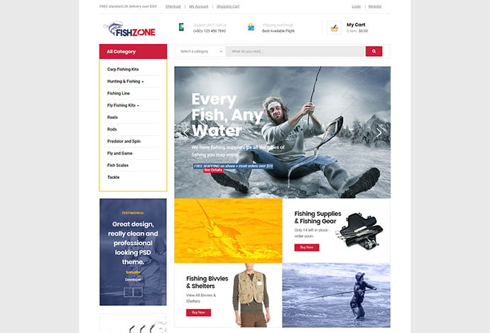 Fishzone - 33+ Lovely Outdoor Gear WordPress Themes [year]