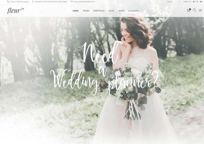 Fleur - 35+ Nice WordPress Wedding Planner Themes [year]