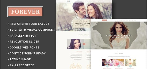 Forever - 35+ Nice WordPress Wedding Planner Themes [year]