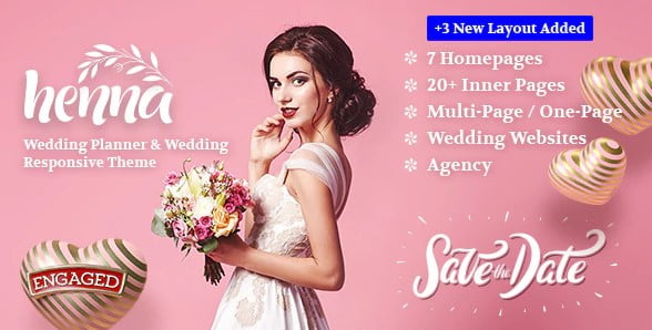 Henna - 35+ Nice WordPress Wedding Planner Themes [year]