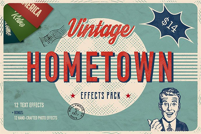 Hometown - 33+ Nice Retro Vintage Photoshop Text Effects [year]