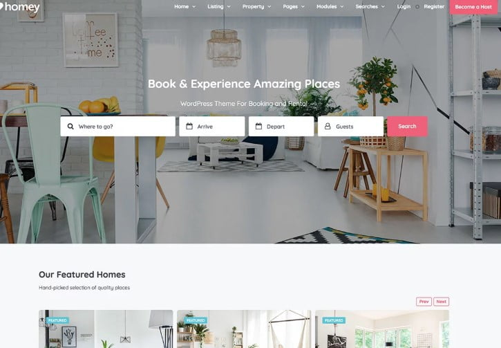 Homey-1 - 37+ Awesome WordPress Booking Themes [year]