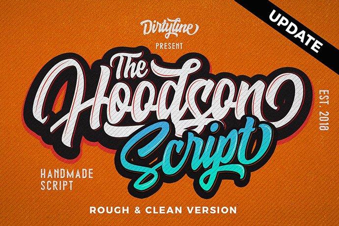 Hoodson-Script - 53+ Nice T-shirt Design Hand Lettering Fonts [year]