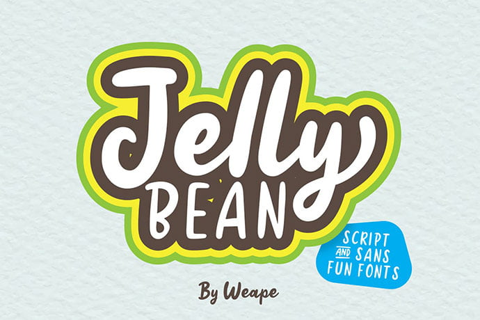 Jellly-Bean - 53+ Nice T-shirt Design Hand Lettering Fonts [year]