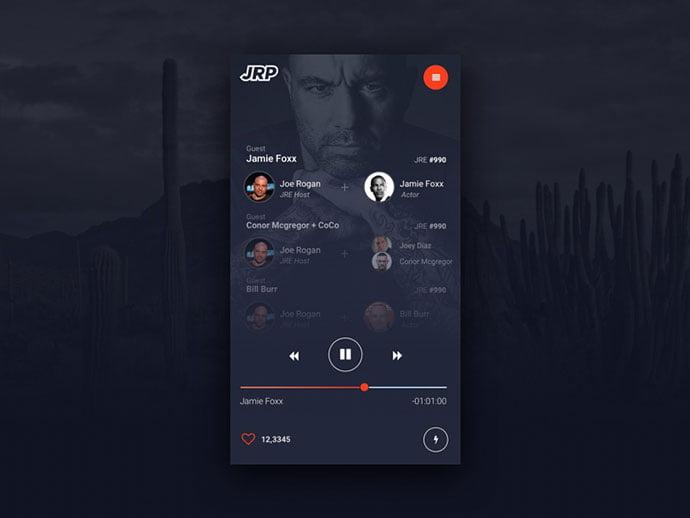 Joe-Rogan-Podcast-UI - 63+ BEST Free PodCast Web & Mobile App UI Design IDEA [year]