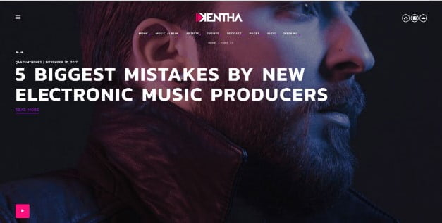 Kentha - 33+ Awesome Music Blog Responsive WordPress Themes [year]