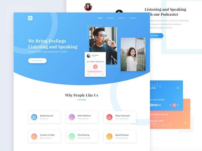 Landing-Page-Exploration - 63+ BEST Free PodCast Web & Mobile App UI Design IDEA [year]