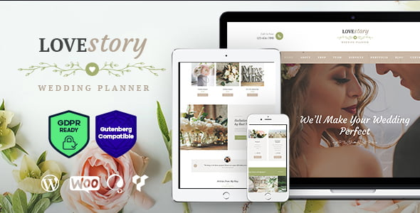 Love-Story - 35+ Nice WordPress Wedding Planner Themes [year]