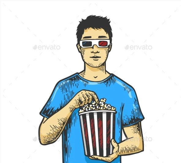 Man-with-Pop-Corn - 39+ Best BEST Free Retro & Vintage Movie Design [year]