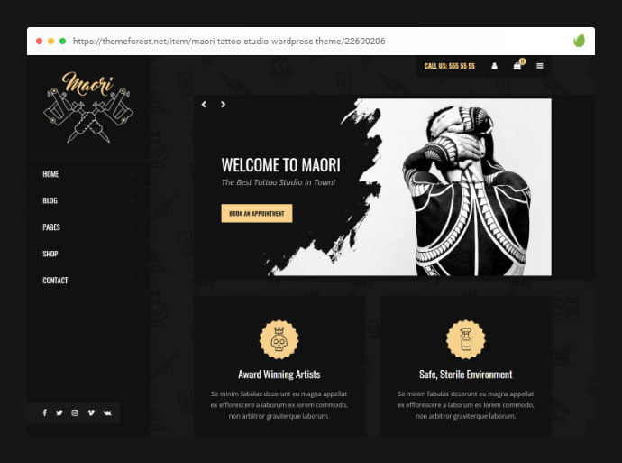 Maori - 28+ Amazing Tattoo Artist WordPress Themes [year]