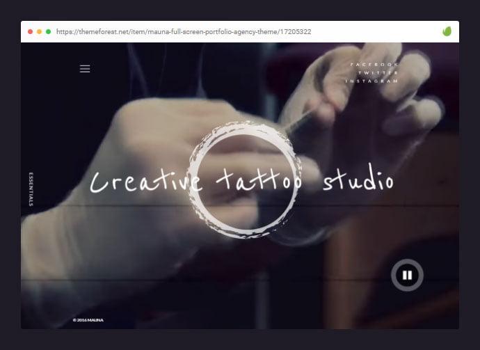 Mauna - 28+ Amazing Tattoo Artist WordPress Themes [year]