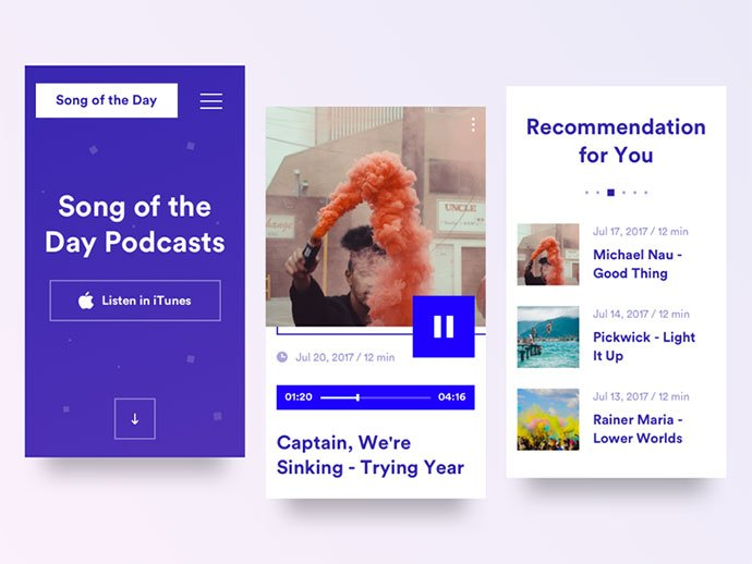 Music-Podcast-Mobile-p.1 - 63+ BEST Free PodCast Web & Mobile App UI Design IDEA [year]