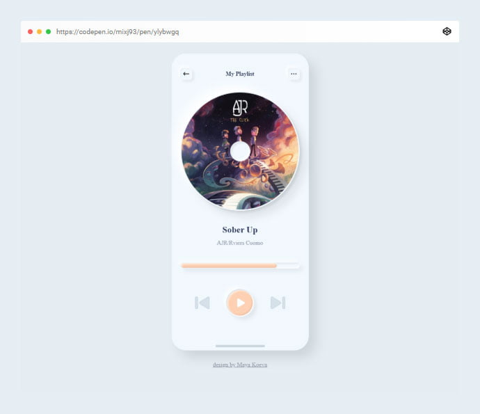 Neumorphism-Soft-Ui-Music-Player - 38+ BEST Free CSS Neomorphic UI Design IDEA [year]