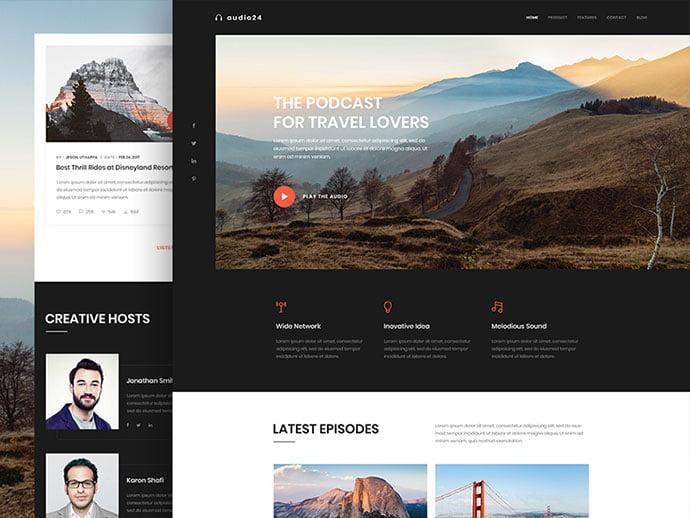 Online-Radio - 63+ BEST Free PodCast Web & Mobile App UI Design IDEA [year]