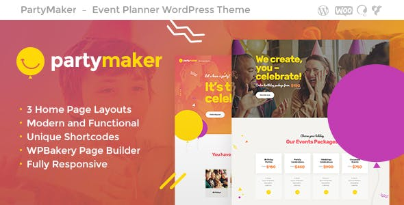 PartyMaker - 35+ Nice WordPress Wedding Planner Themes [year]