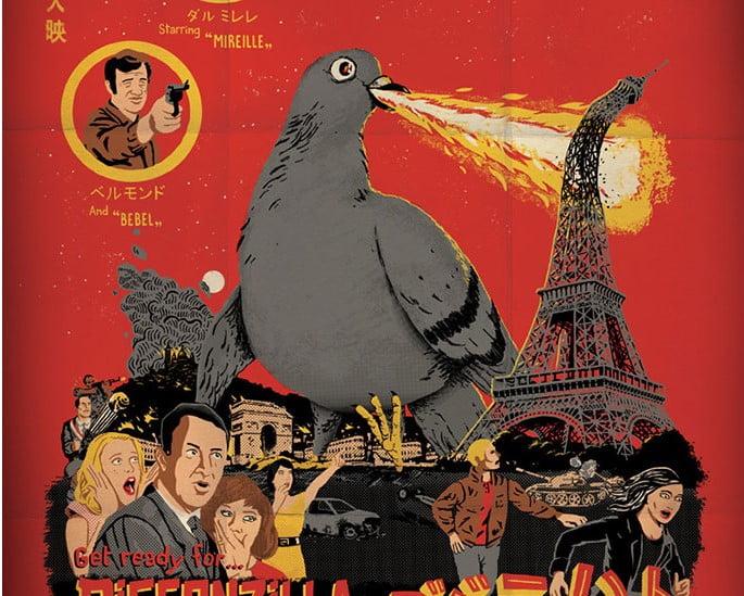 Pigeonzilla - 39+ Best BEST Free Retro & Vintage Movie Design [year]