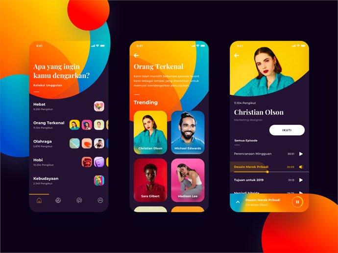 Podcast-App-1 - 63+ BEST Free PodCast Web & Mobile App UI Design IDEA [year]