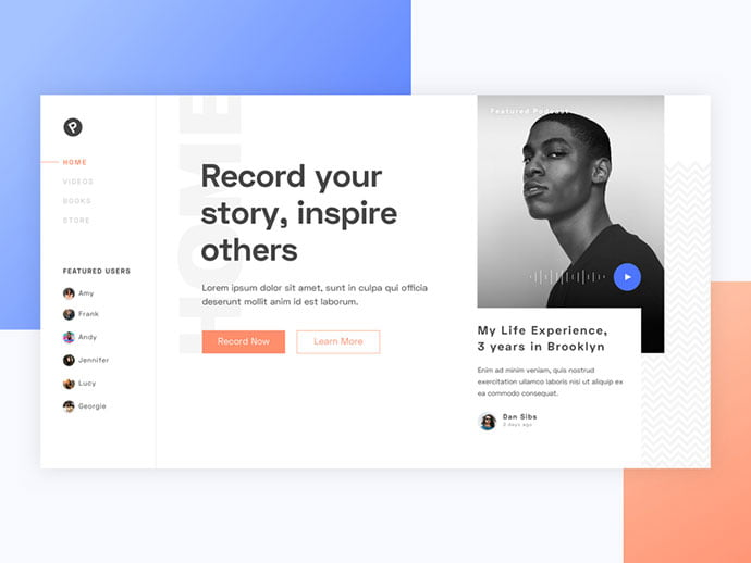 Podcast-Homepage - 63+ BEST Free PodCast Web & Mobile App UI Design IDEA [year]