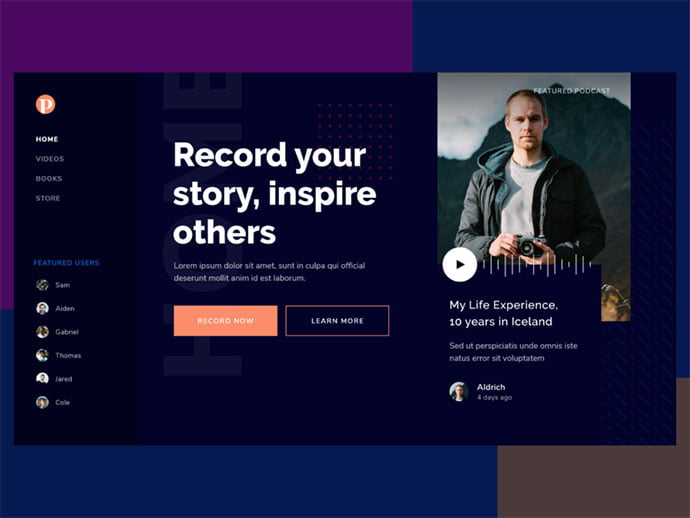 Podcast-Landing - 63+ BEST Free PodCast Web & Mobile App UI Design IDEA [year]