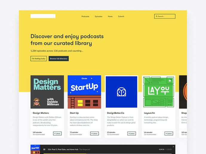 Podcast-Library-Side - 63+ BEST Free PodCast Web & Mobile App UI Design IDEA [year]