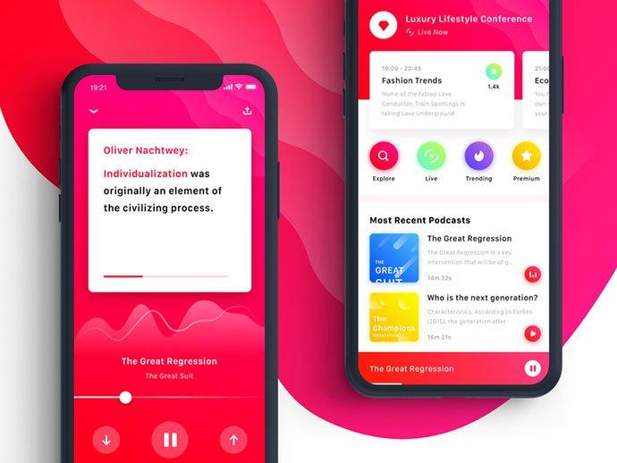 Podcast-Listening - 63+ BEST Free PodCast Web & Mobile App UI Design IDEA [year]
