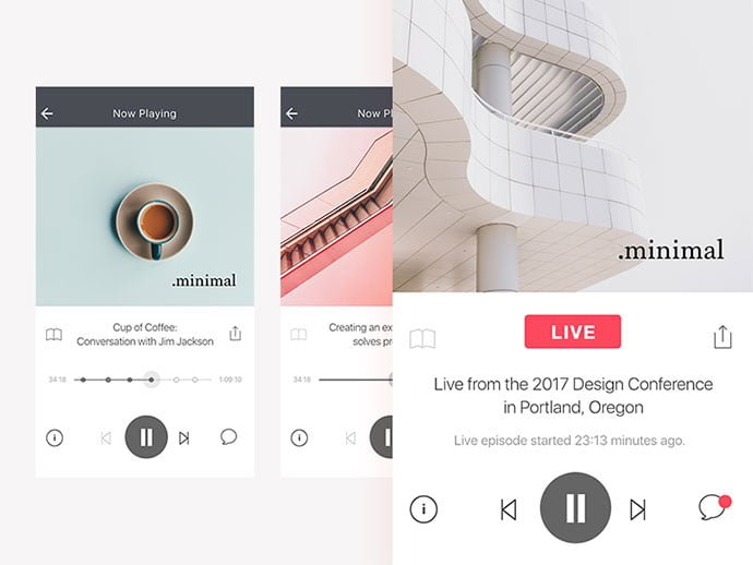 Podcast-Player-Screen - 63+ BEST Free PodCast Web & Mobile App UI Design IDEA [year]