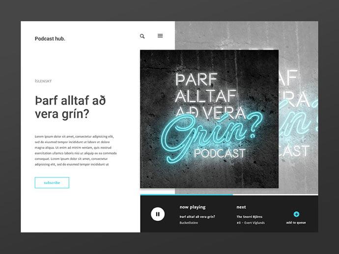 Podcast-hub - 63+ BEST Free PodCast Web & Mobile App UI Design IDEA [year]