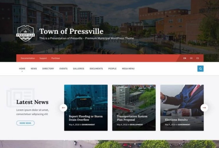 Pressville - 35+ Awesome WordPress Government Themes [year]