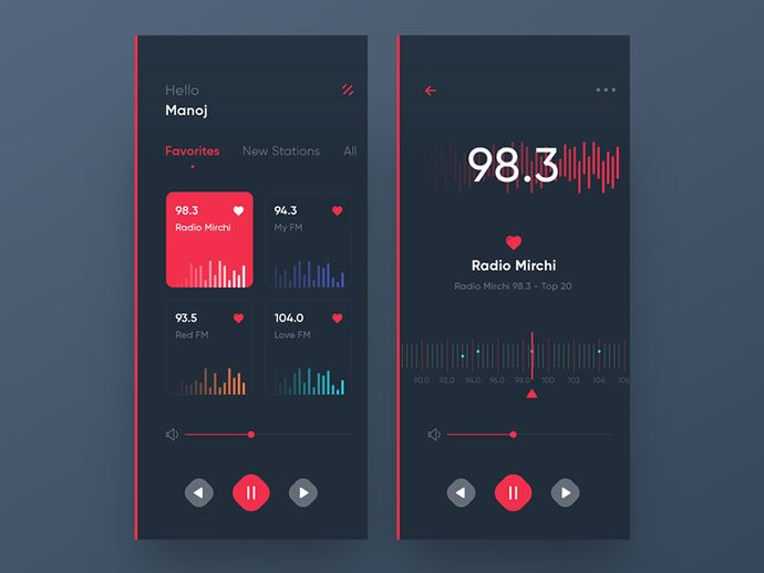 Radio-1 - 63+ BEST Free PodCast Web & Mobile App UI Design IDEA [year]