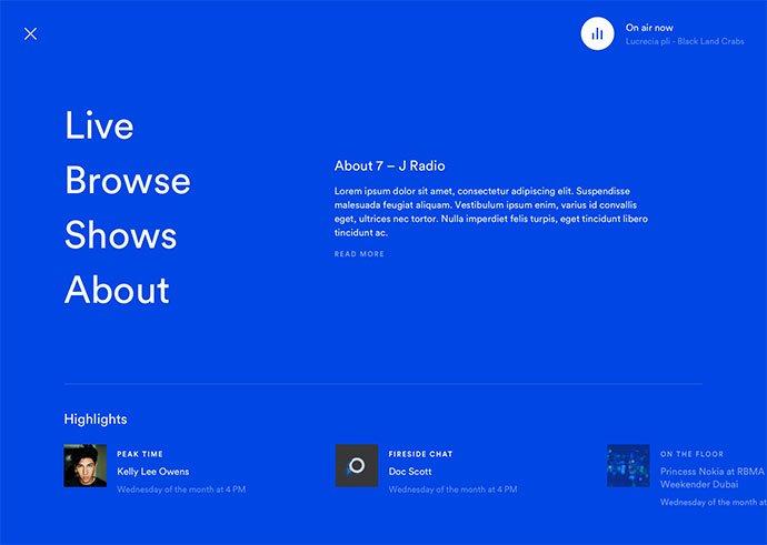 Radio-Menu - 63+ BEST Free PodCast Web & Mobile App UI Design IDEA [year]