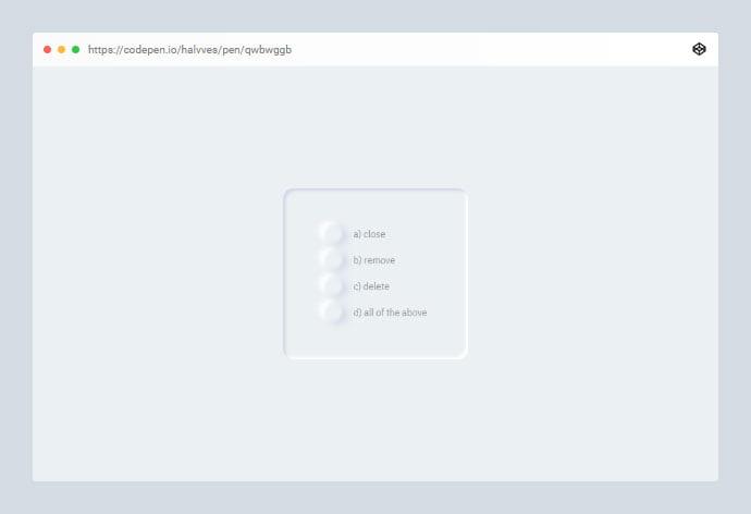 Radio - 38+ BEST Free CSS Neomorphic UI Design IDEA [year]