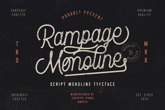 Rampage-Monoline - 53+ Nice T-shirt Design Hand Lettering Fonts [year]