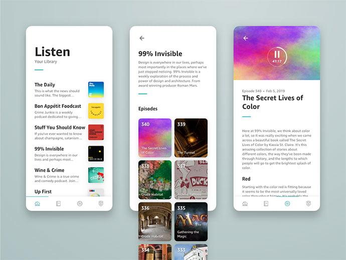 Rebound - 63+ BEST Free PodCast Web & Mobile App UI Design IDEA [year]