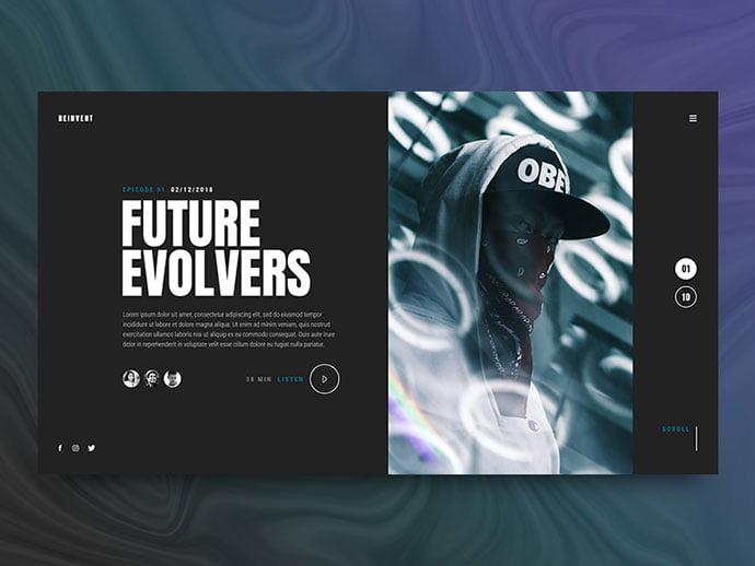 Reinvent - 63+ BEST Free PodCast Web & Mobile App UI Design IDEA [year]