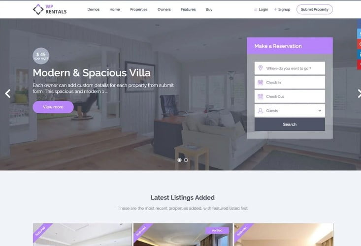 Rentals - 37+ Awesome WordPress Booking Themes [year]
