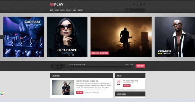 Replay - 33+ Awesome Music Blog Responsive WordPress Themes [year]
