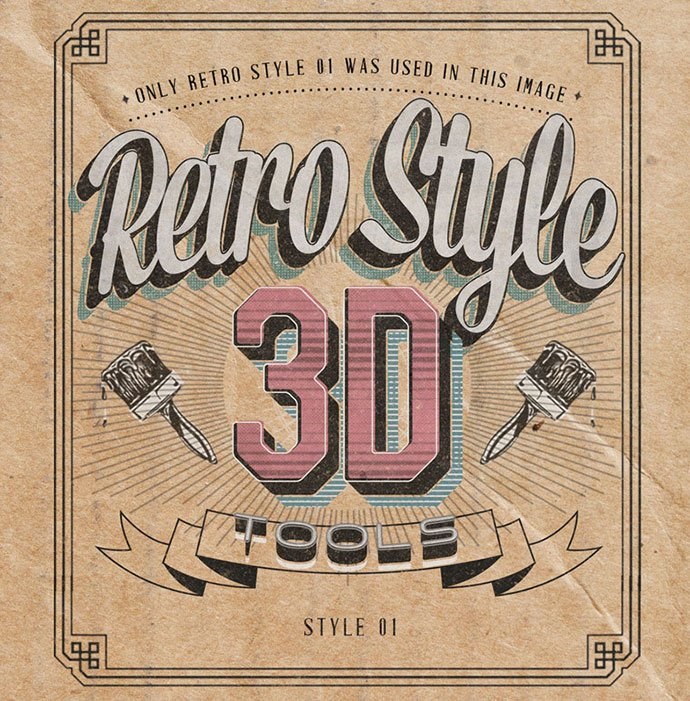 Retro-Style-3D-Tools - 33+ Nice Retro Vintage Photoshop Text Effects [year]