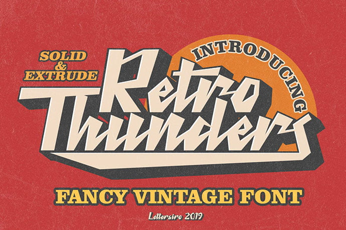 Retro-Thunders - 53+ Nice T-shirt Design Hand Lettering Fonts [year]