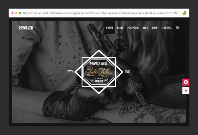 Revolver-1 - 28+ Amazing Tattoo Artist WordPress Themes [year]