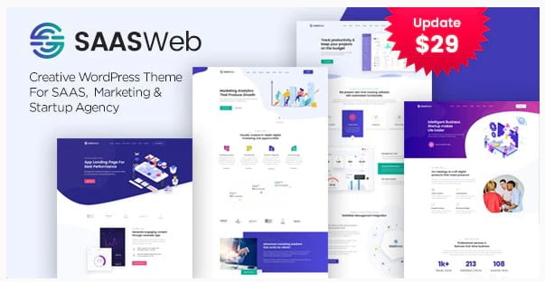 SAASWeb - 33+ Responsive WordPress SAAS Themes [year]