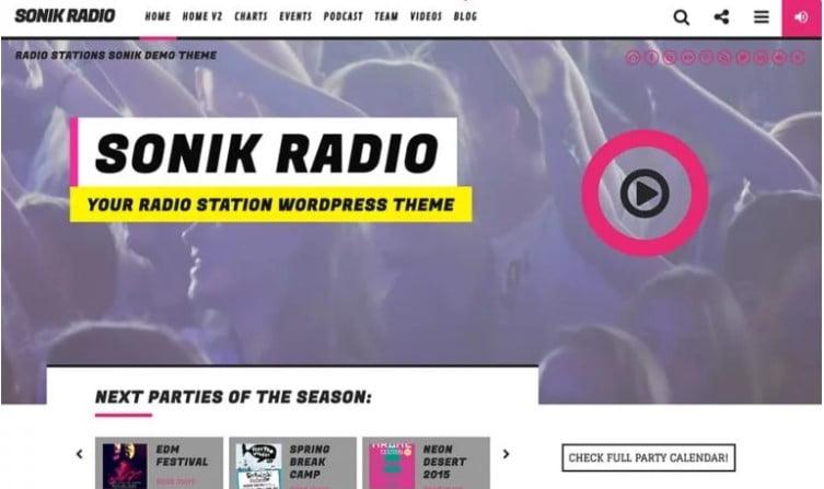 SONIK - 36+ Amazing WordPress Radio Station Themes [year]