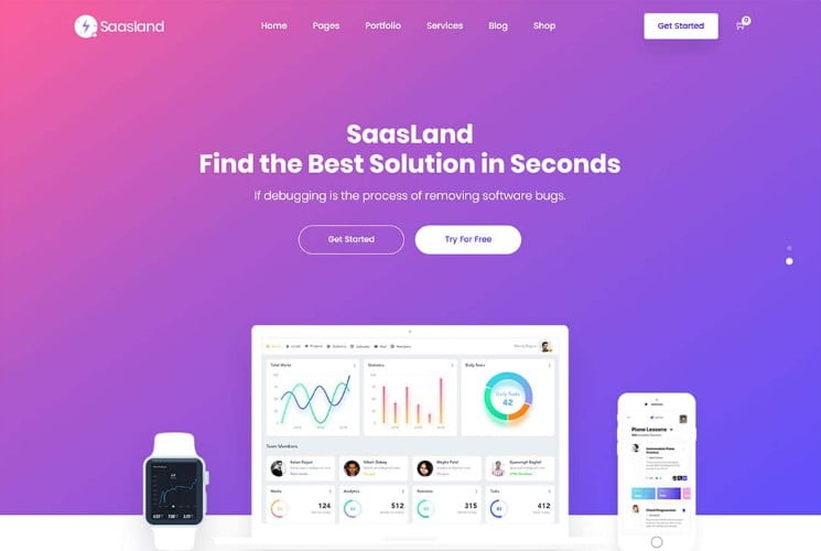 Saasland - 33+ Responsive WordPress SAAS Themes [year]