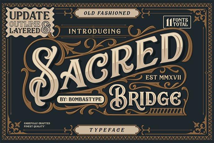 Sacred-Bridge - 38+ Beautiful Fonts For Graphic Design [year]